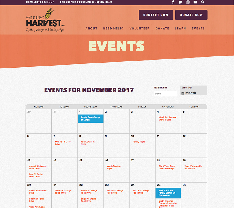 winnipeg harvest events page